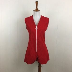 Vintage Corduroy Front Zip Sleeveless Mini Romper